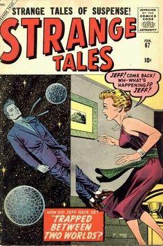 """oldschoolsciencefiction:  """" Strange Tales #67, February 1959. Cover by Joe Sinnott.  """""""