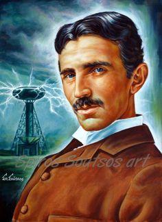 #NikolaTesla #Tesla #TeslaTower #painting #portraits #scientists #science #electricity #alternativecurrent