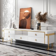 Comrty White TV Stand Modern Gold TV Console with Storage Media Cabinet TV Stand for TVs Up to 78 Inches – audio room ideas Decor, Gold Tv Stand, Furniture, White Tv Stands, Media Cabinet, Home Decor, Tv Console, Audio Room, Modern Tv Stand