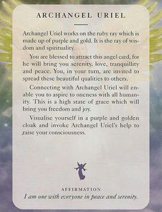 """Archangel Uriel"" From the Angels of Light Cards"