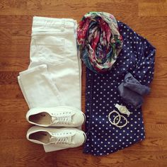 Navy white polka dot sweater, white pants capris or shorts, white sneakers, chambray layered, floral scarf