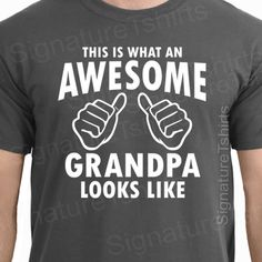 Fathers Day Gift AWESOME GRANDPA Mens T-shirt Gifts For Dad Granddad T-Shirt Tshirts Kids Funny shirt papa tshirt  Grandad Grandfather
