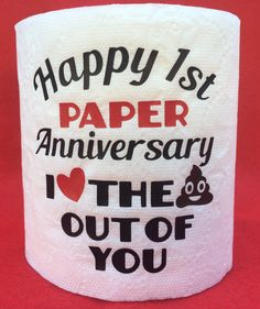 Hilarious First 1st Paper Wedding Anniversary Toilet Paper Gag