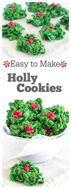 Easy to Make Holly Cookies Recipe : a festive holiday treat.  I've been making these for decades now, and everyone always loves them!