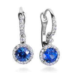Mark Patterson - Aura 18K White Gold Sapphire Diamond Earrings. #Wedding. @Celebstylewed