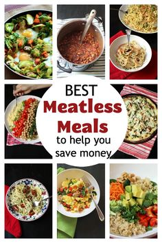 Looking for meatless meals? Here are over 60 meatless recipes that are packed with flavor to help you save money and eat fantastically well. Easy Weekday Meals, Make Ahead Meals, Easy Meals, Easy Baking Recipes, 30 Minute Meals, Meatless Recipes, Family Meals, Food Dishes, Healthy Eating