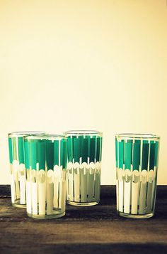 warm vintage neutrals with that gorgeous green...: 80/365 vintage glasses. ~ butterflyfoodie