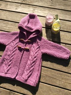 Knit Baby Lilac Sweater Hand Knitted Baby Girl Cardigan