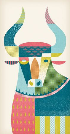 Print and patterned bull by illustrator Andrew Holder. Looks a lot like Mary Blaire from Disney past. Art And Illustration, Graphic Design Illustration, Graphic Art, Animal Illustrations, Pattern Illustrations, Animal Graphic, Magazine Illustration, Arte Popular, Art Graphique