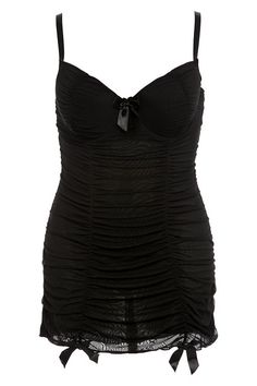 Torrid $34 Plus Size Black Ruched Mesh Chemise
