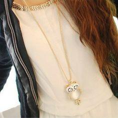 Owl Opal Crystal Rhinestone Gemstone Necklace
