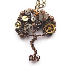 Steampunk Gear Tree Pendant by CuriousJewelry on Etsy