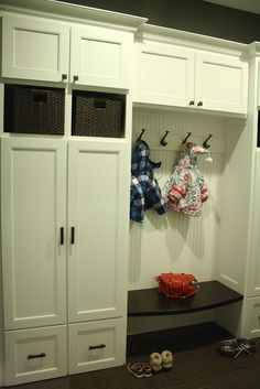 Mudroom Lockers - double doors for putting laundry basket on sliding shelf