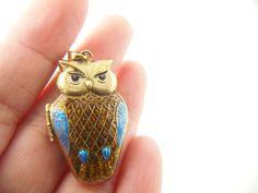 Owl Locket  Vermeil  Enamel Sterling Silver  by VintageParis