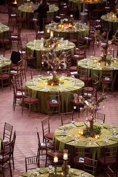 beautiful table settings. Greens, whites and purples! <2