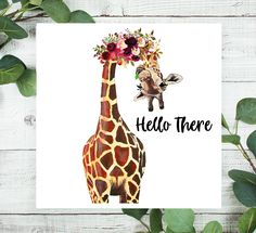 Giraffe Sign, Everyday Sign, Signs, Hello There Sign, Wreath Sign, Craft Embellishment