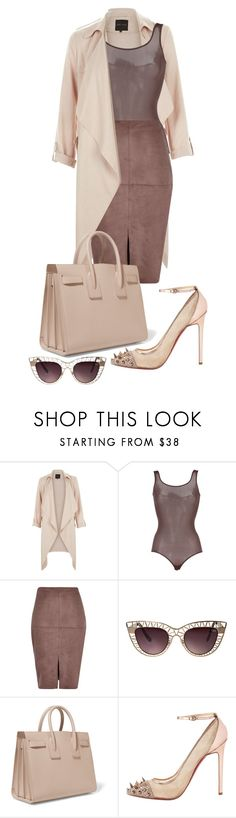 """soft pink and plum"" by minkstyles ❤ liked on Polyvore featuring New Look, Wolford, River Island, Quay, Yves Saint Laurent and Christian Louboutin"