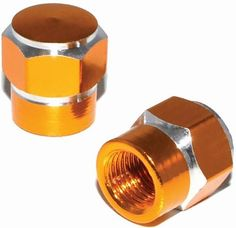 "Amazon.com : (2 Count) Cool and Custom ""Short Two Tone Hexagon with Easy Grip Shape"" Tire Wheel Rim Air Valve Stem Dust Cap Seal Made of Genuine Anodized Aluminum Metal {Caramel Maserati Gold and Silver Colors - Hard Metal Internal Threads for Easy Application - Rust Proof - Fits For Most Cars, Trucks, SUV, RV, ATV, UTV, Motorcycle, Bicycles} : Sports & Outdoors"