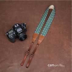 White lovely dot Handmade Leather DSLR Camera Strap Canon/Nikon Camera Strap 7177