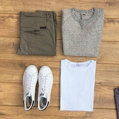 """Olive chinos will be some of the most versatile in your wardrobe. As long as you stick to mostly neutral colours elsewhere. #tngoutfitgrid…"""
