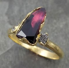 Partially Faceted Sapphire Raw Multi stone Rough Diamond 18k Gold Engagement Ring Wedding Ring Custom One Of a Kind Violet Gemstone Ring Three stone 0507