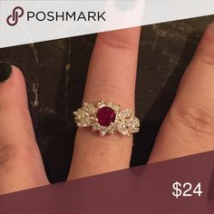Beautiful Sterling Silver Ruby CZ Ring Brand New .925 Sterling Silver Stamped #R089 Jewelry Rings