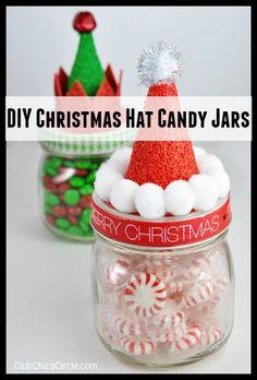 DIY Christmas Hat Candy Jars