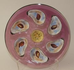 """RARE Moser amethyst round 6 well oyster plate, 8 3/8"""""""