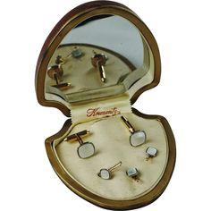 9db7dd7074a6a4 1930s Vintage Krementz Mother of Pearl Tuxedo Studs and Cufflinks Gift Set  - Original Box -