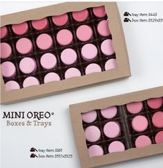 BRP Box Shop boxes and trays for Mini Chocolate Covered OREO cookies. Pink Chocolate, Chocolate Covered Strawberries, Chocolate Dipped, Baking Chocolate, Oreo Box, Mini Oreo, Profiteroles, Cute Cookies, Oreo Cookies