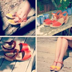 orange and tan or yellow and tan open toe clogs  perfect for your summer holiday wardrobe
