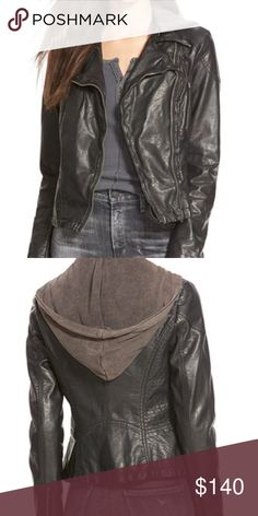 Free People Vegan Leather Jacket Perfect condition, only worn a handful of times Vegan Leather Jacket with detachable hood and Moto zipper design. Structured and rumpled leather. Beautiful jacket Free People Jackets & Coats