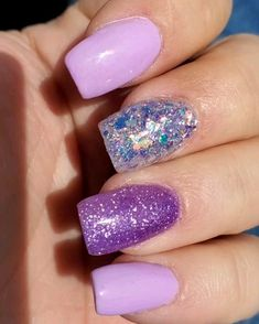 Mar 2020 - Mani Moguls dip powders in Lav A Little Shimmy Pop, I Lilac U and Glitterazzi Cute Acrylic Nail Designs, Cute Acrylic Nails, Cute Nails, Sparkle Nails, Bling Nails, Glitter Manicure, Nail Dipping Powder Colors, Purple Toe Nails, August Nails