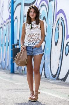 30 Crochet Outfits to Copy This Summer  - sheer crochet top + cut off denim shorts  | StyleCaster