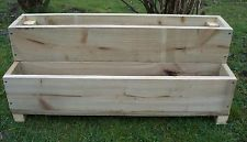 two tiered tanalised wooden garden planter, 600, 900 or 1200mm wood trough