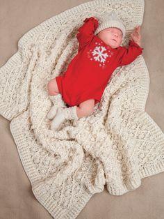 Crochet - Afghan & Throw Patterns - Aran Patterns - Aran Baby Blanket, Hat & Booties