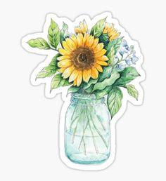 Sunflower bouquet,  sunflower bunch, sunflowers, watercolor, painted sunflowers Sticker Stickers Cool, Stickers Kawaii, Cute Laptop Stickers, Bubble Stickers, Printable Stickers, Journal Stickers, Scrapbook Stickers, Planner Stickers, Tumblr Sticker