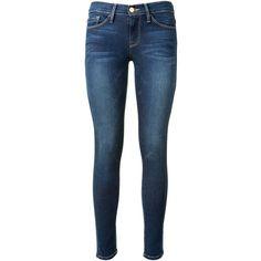 Frame Denim Le Skinny De Jeanne Mid Rise Jeans ($160) ❤ liked on Polyvore featuring jeans, pants, bottoms, calças, 5 pocket jeans, skinny leg jeans, blue jeans, super skinny jeans and zipper skinny jeans