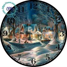 """1950 Christmas Night Art - -DIY Digital Collage - 12.5"""" DIA for 12"""" Clock Face Art - Crafts Projects, old house, forest, snow by CocoPuffsDesigns on Etsy"""