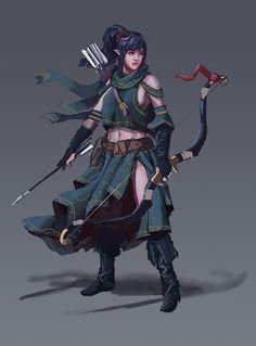 Generic Fantasy Black Haired Elf Archer by L3monJuic3.deviantart.com on @DeviantArt