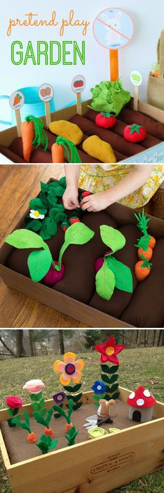 DIY Plantable Felt Gardens for Kids! So much fun and such a sweet activity for building pretend play and fine motor skills! 3 of the BEST DIY plantable felt gardens projects. These fun projects will provide your child with hours of learning fun! Garden Crafts For Kids, Sewing Projects For Kids, Sewing For Kids, Fun Projects, Diy For Kids, Kids Crafts, Diy And Crafts, Decor Crafts, Diy Toys For Toddlers