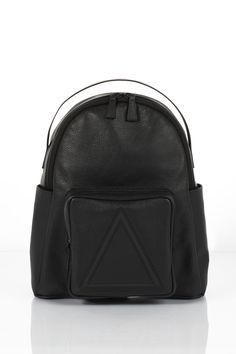 Soho black leather unisex backpack