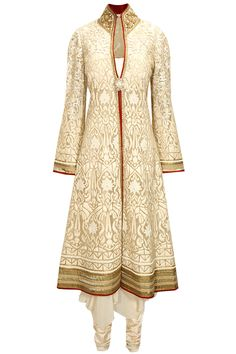 Pale yellow kurta set with applique work jacket available only at Pernia's Pop-Up Shop.