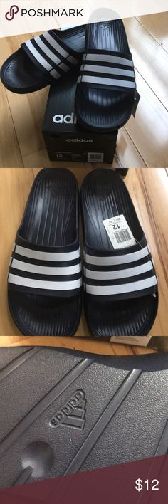 4205f3051 Men s Duramo slide. Navy with white stripes. adidas Shoes Sandals   Flip- Flops