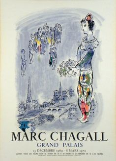 Plakate Marc Chagall Affiche Marc Chagall Poster Marc Chagall title The magician of Paris  technology Color lithography (Charles Sorlier Lith.)