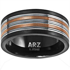 A.R.Z Steel Gents Tri Colour Ring Stainless Steel Jewelry, Jewels, Colour, Rings, Stuff To Buy, Accessories, Jewellery, Men, Color