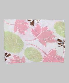 Look at this #zulilyfind! 47'' x 47'' White & Pink Waterlilies Muslin Swaddling Blanket by Bambino Land #zulilyfinds