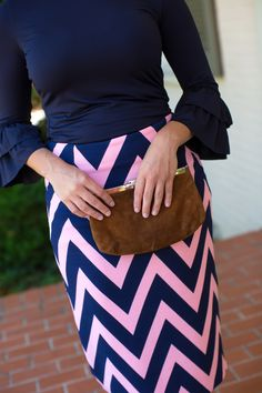 Gorgeous modest pencil skirts at www.daintyjewells.com. Navy and pink in chevron. Modest fashion, bridesmaid style, ruffles, and lace!