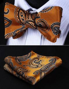 Pocket Square BP818NS Orange Black Paisley Bowtie Men Silk Self Bow Tie handkerchief set