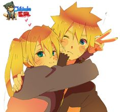 Naruto got Minato's blue eyes and blonde hair. Description from pinterest.com. I searched for this on bing.com/images